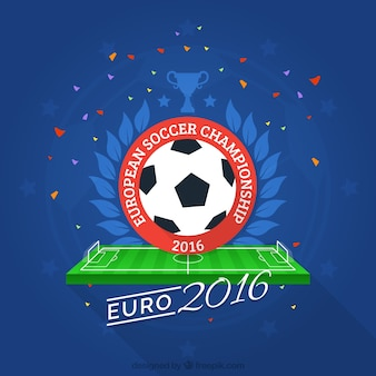Cute ball with confetti euro 2016 background