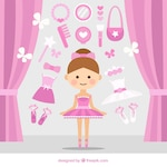 Cute ballerina with pink accessories