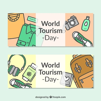 Cute banners about world tourism day