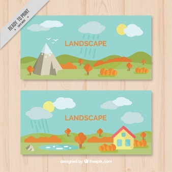 Cute banners in flat style