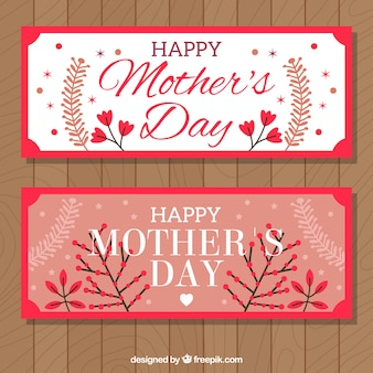 Cute banners with decorative vegetation for mother's day