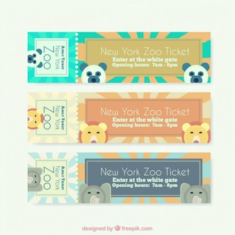 Cute banners with lovely zoo animals