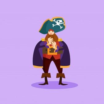 かわいいひげ海賊強盗船員漫画キャラクター