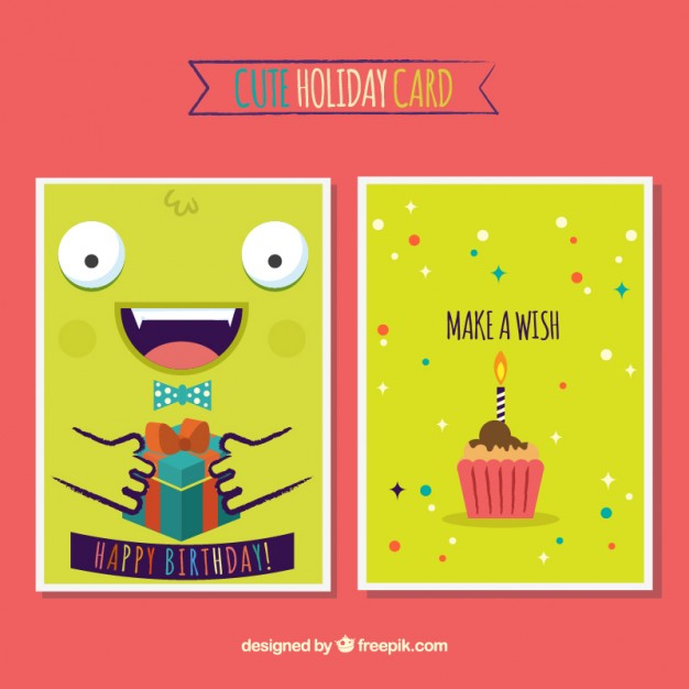 Cute birthday card with a monster