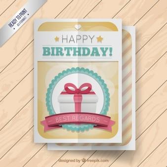 Cute birthday card with a present