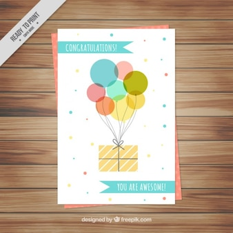 Cute birthday card with balloons and gift