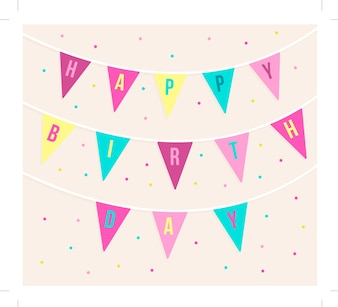 Cute birthday card with garlands and dots