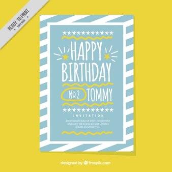Cute birthday card with stripes