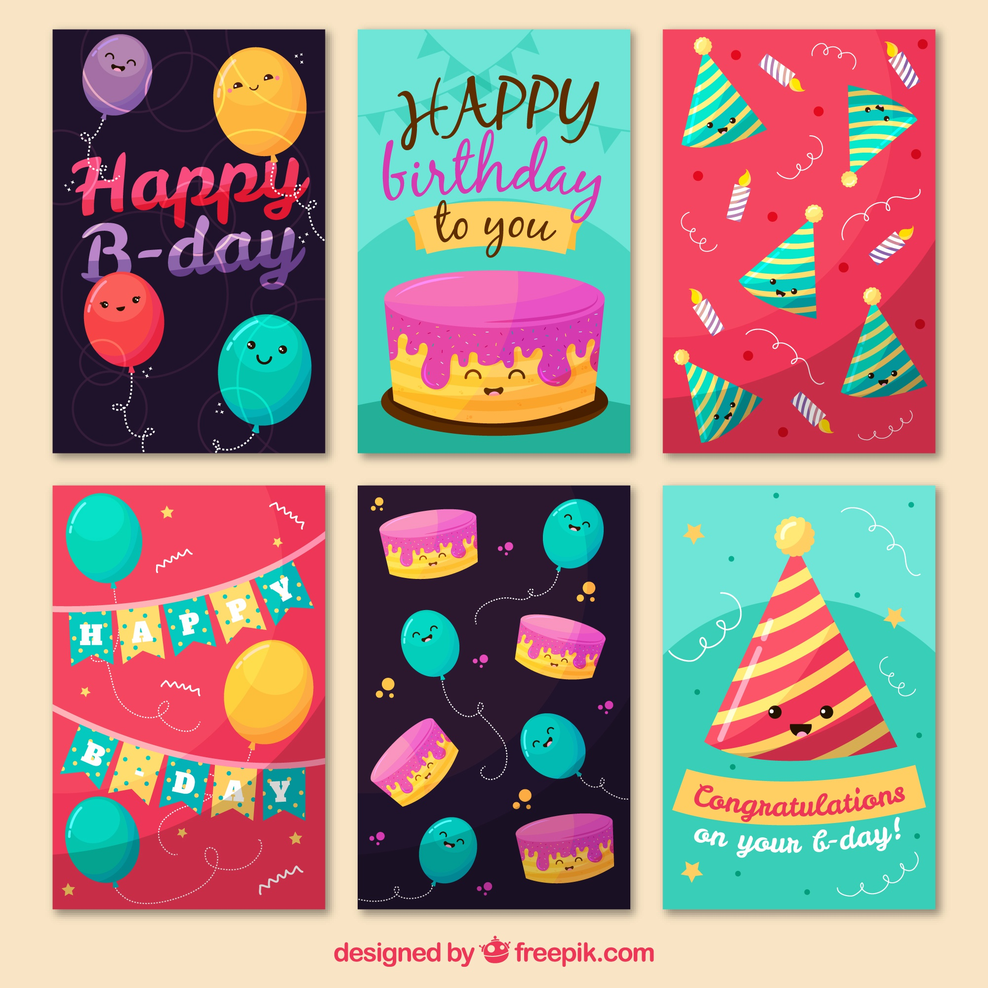 Cute birthday cards collection