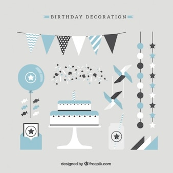 Cute birthday decoration in flat design