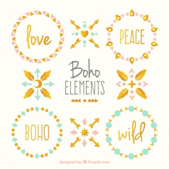 Cute boho elements pack with golden details