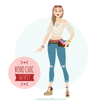 Cute boho girl outfit