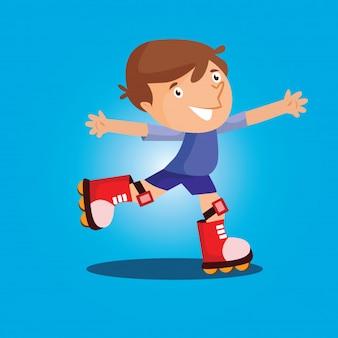 Cute boys play rollerskate cartoon character