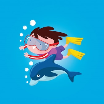 Cute boys swimming with dolphin in the blue waters cartoon character