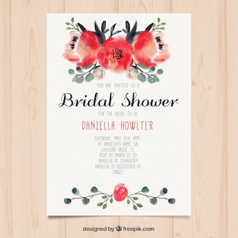 Cute bridal shower invitation with flowers painted with watercolor