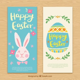 Cute bunny and easter egg banners