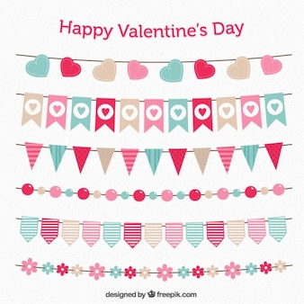 Cute buntings and garlands for valentine day