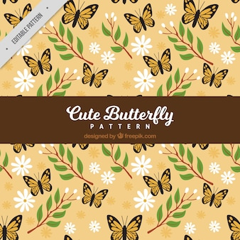 Cute butterfly pattern with flowers and plants