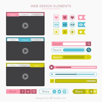 Cute buttons with a lot of website elements
