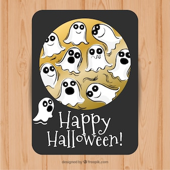 Cute card with halloween ghosts