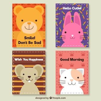 可愛い動物のかわいいカードセット