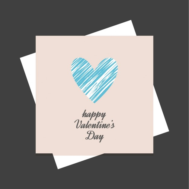 Cute cards with a blue heart for valentine's day