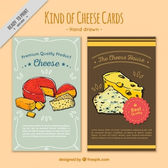 Cute cards with cheese illustrations