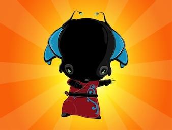 Cute cartoon alien character vector