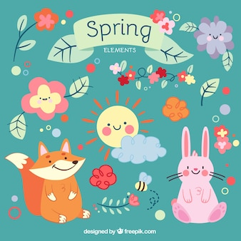 Cute cartoon animals and spring elements