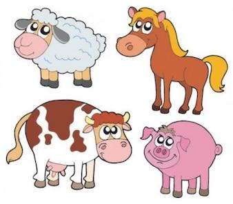 Cute cartoon animals zoo vector graphics