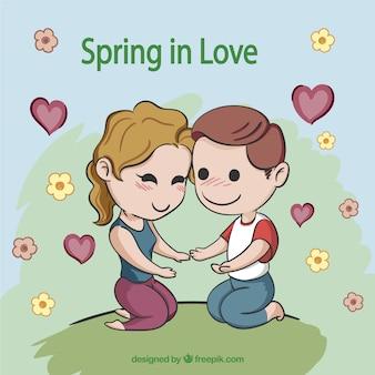 Cute cartoon couple in love
