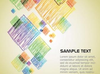 Cute cartoon crayons text background vector set