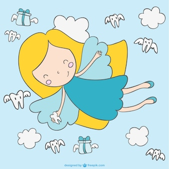 Cute cartoon fairy flying vector