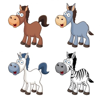 Cute cartoon horses animal icons