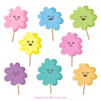 Cute characters pack of cotton candy with faces