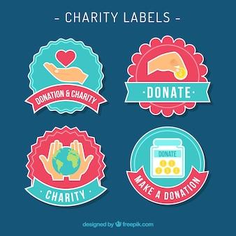 Cute charity labels set