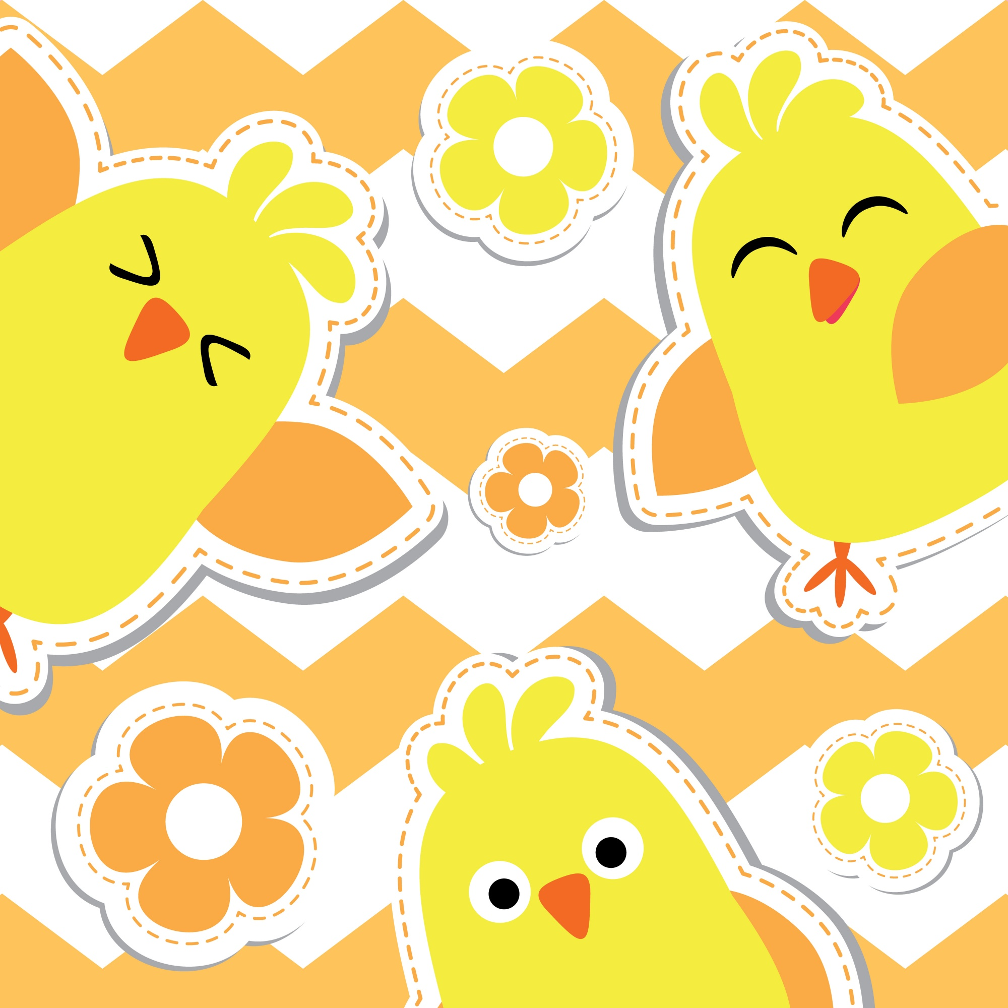 Cute chicks cartoon on orange striped background, Easter postcard, greeting and invitation card, vector illustration