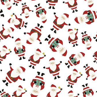 Cute christmas background with santa claus in different positions