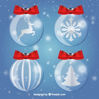 Cute christmas balls with red bows