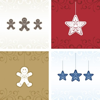 Cute christmas cards with stars and gingerbread men