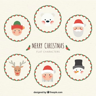 Cute christmas characters in flat design