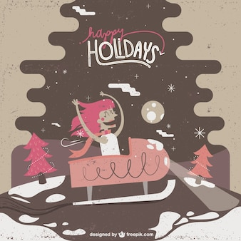 Cute christmas holidays illustration
