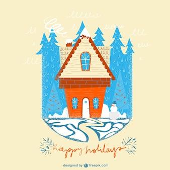 Cute christmas house card