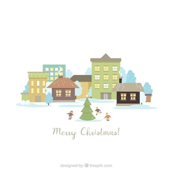 Cute christmas landscape background with children around a tree