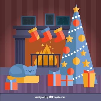 Cute christmas living room in flat design