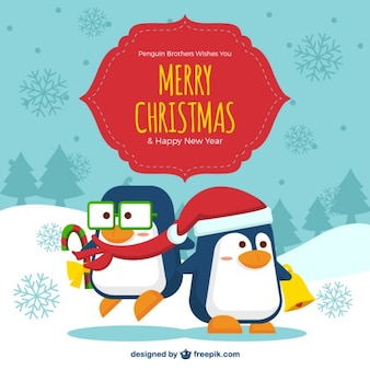 Cute christmas penguins background