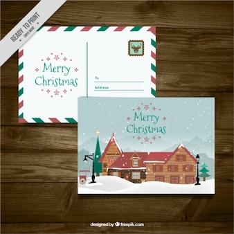 Cute christmas postcards with a cabin