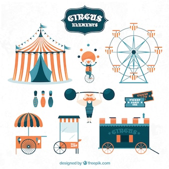 Cute circus elements collection
