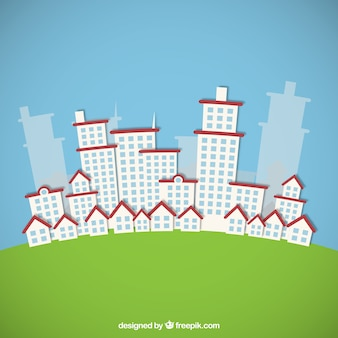 Cute city buildings