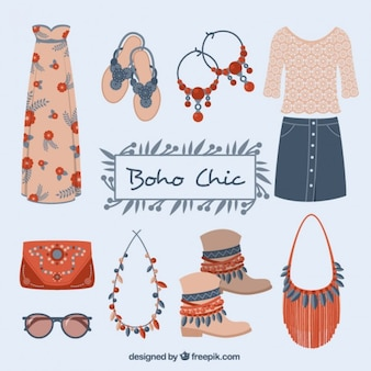 Cute clothes and elements set in boho style